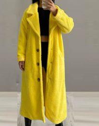 Дълго дамско палто в жълто - код 0465