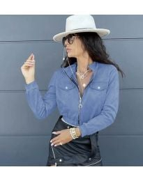 Дамско късо яке в светло синьо - код 7070