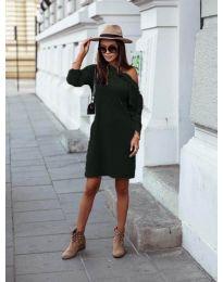Дамска рокля в тъмно зелено - код 8171