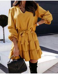 Свободна рокля в цвят горчица - код 8272