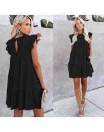 Черна свободна рокля с къси ръкави - код 538