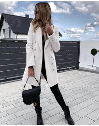Дамско палто в бяло с метални копчета - код 793