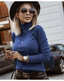 Дамска блуза с поло яка в тъмно синьо - код 8861