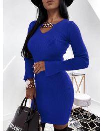 Дамска рокля в тъмно синьо - код 5666