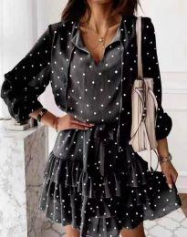 Стилна дамска рокля в черно на точки - код 7113