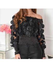 Ефектна блуза от тюл с ластична долна част в черно - код 3530