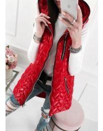 Дълъг дамски елек в червен цвят - код 515