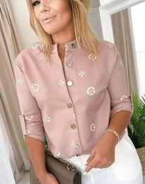 Дамска риза в цвят пудра - код 2921