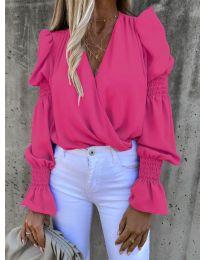 Стилна блуза с ефектни ръкави в циклама - код 5451