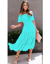 Феерична рокля в цвят тюркоаз - код 699
