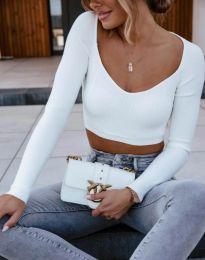 Къса дамска блуза в бяло - код 12064