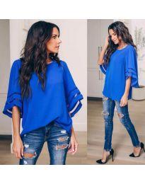 Ефектна дамска блуза в син цвят - код 3371