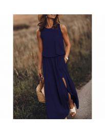 Дълга рокля в тъмно синьо - код 640