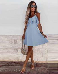 Атрактивна дамска рокля в светлосиньо - код 2739