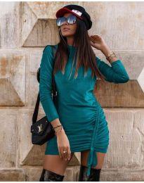 Дамска рокля в цвят тюркоаз - код 9545