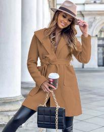 Дамско палто в цвят капучино - код 4973
