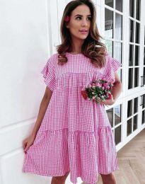 Карирана дамска рокля в розово - код 6111