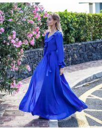 Дълга рокля с цепка в тъмно синьо - код 8477