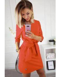 Изчистена рокля в неоново розово с колан при талията - код 594