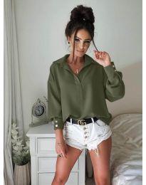 Елегантна риза в маслено зелено - 9898