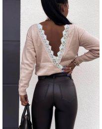 Дамска блуза с ефектен гръб в розово - код 6050