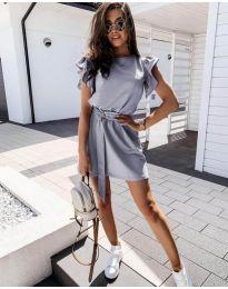 Стилна рокля в сиво с колан - код 0071