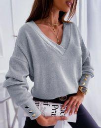 Изчистена дамска блуза в сиво - код 5236