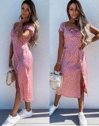 Лятна рокля в розово на точки - код 2127 - 3