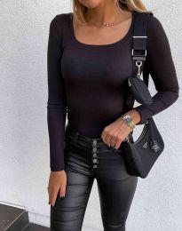 Стилна дамска блуза в черно - код 6342