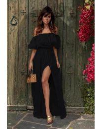 Дълга рокля с цепка в черно - код 3336