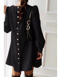 Свободна изчистена дамска рокля в черен цвят - код 915