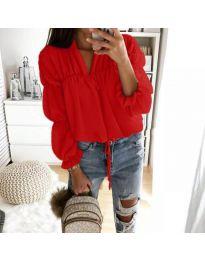 Дамска риза с набори и връзки в червено - код 892