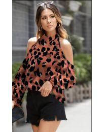 Дамска блуза с ефектен десен в медно кафяво - код 1193