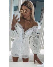 Бяла рокля с бродерии - код 306
