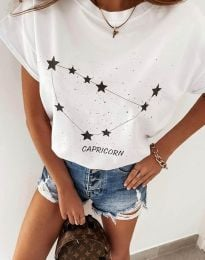 Дамска тениска с принт зодия козирог в бяло - код 2342