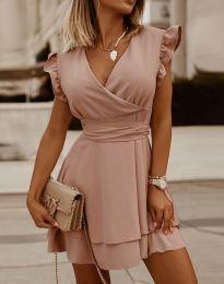 Ефирна дамска рокля в цвят пудра - код 5654