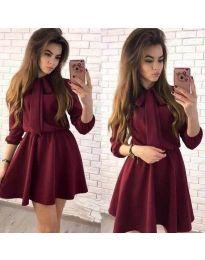 Стилна рокля в цвят бордо - код 360