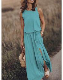 Дълга рокля в цвят тюркоаз - код 640