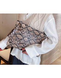 Дамска чанта с атрактивен десен в бежово - код B27