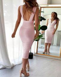 Елегантна рокля в розово - код 1389