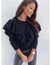 Ефектна дамска блуза в черен цвят - код 699