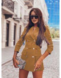 Дамско елегантно сако в кафяво - код 834