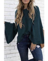 Дамски пуловер в тъмно зелено - код 0202