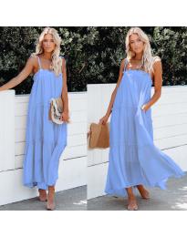 Дълга ефирна рокля в светло син цвят - код 551