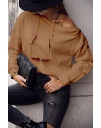 Дамска блуза в в цвят капучино - код 4640