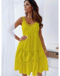 Свободна рокля с дантела в горчица - код 3232
