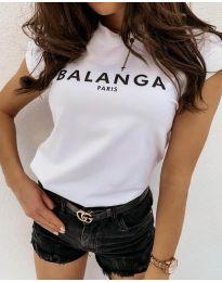 Дамска тениска в бяло - код 7711