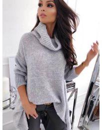Свободна плетена блуза с асиметрична долна част в сиво - код 393