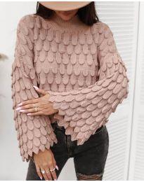 Ефектен дамски пуловер в цвят пудра - код 8092