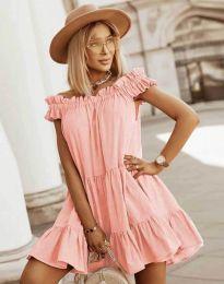 Свободна кокетна рокля в цвят праскова - код 6969